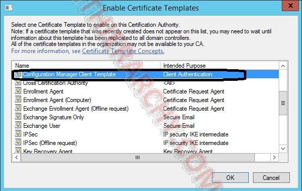 SCCM 2012 : Client Authentication Certificate Templates